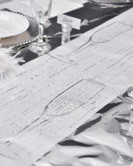 Organza-Tischläufer Sekt, weiß, 28 cm breit, 5 m Rolle - tischlaeufer, organza-tischlaeufer, mit-druck