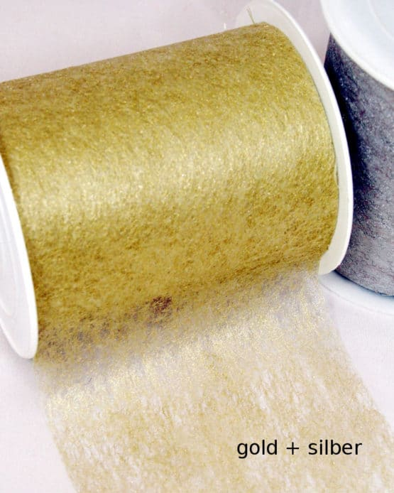 Dekovlies Basis gold/silber 100 mm breit, 20 m Rolle - dekovlies, basis