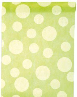 Dekovlies-Tischläufer Dots, grün, 30 cm breit, 5 m Rolle - tischlaeufer, mit-druck-dekovlies, dekovlies