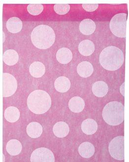 Dekovlies-Tischläufer Dots, pink, 30 cm breit, 5 m Rolle - tischlaeufer, mit-druck-dekovlies, dekovlies