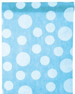 Dekovlies-Tischläufer Dots, türkis, 30 cm breit, 5 m Rolle - tischlaeufer, mit-druck-dekovlies, dekovlies
