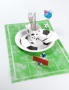 Vlies-Tischläufer Fußball, grün, 30 cm breit, 5 m Rolle - tischlaeufer, mit-druck-dekovlies, dekovlies