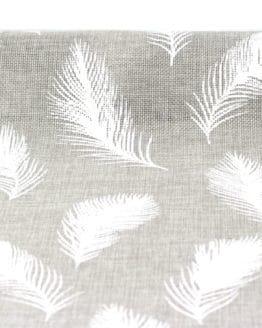 Jute-Tischläufer Federn, grau, 28 cm breit, 3 m Rolle - tischlaeufer, mit-druck-dekovlies, jute, dekovlies