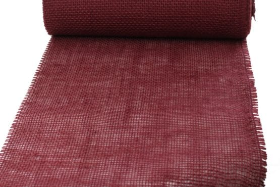 Jute-Tischläufer bordeaux, 30 cm breit, 10 m Rolle - tischlaeufer, jute