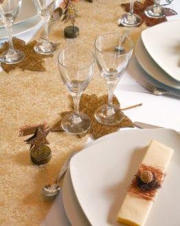 Organza-Tischläufer Crystals, gold, 28 cm breit, 5 m Rolle - tischlaeufer, organza-tischlaeufer, mit-druck