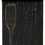 Organza-Tischläufer Sekt, schwarz, 28 cm breit, 5 m Rolle