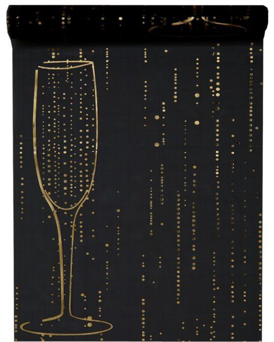 Organza-Tischläufer Sekt, schwarz, 28 cm breit, 5 m Rolle - tischlaeufer, organza-tischlaeufer, mit-druck