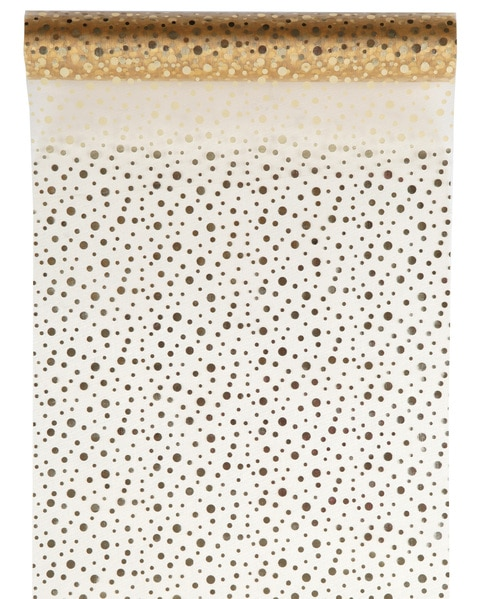 Organza-Tischläufer Glitter, gold, 28 cm breit, 5 m Rolle - tischlaeufer, organza-tischlaeufer, mit-druck