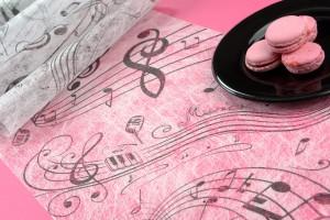 Vlies-Tischläufer Musik, weiß, 30 cm breit, 5 m Rolle - tischlaeufer, mit-druck-dekovlies, dekovlies