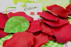 Rosenblaetter rot zur Tischdeko -