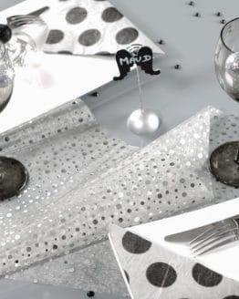 Organza-Tischläufer Glitter, silber, 28 cm breit, 5 m Rolle - tischlaeufer, organza-tischlaeufer, mit-druck