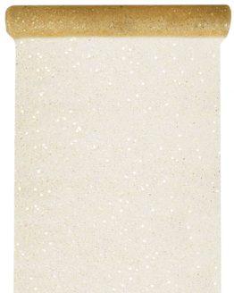 Tüll-Tischläufer m. Pailletten, gold, 30 cm breit, 5 m Rolle - tuell, tischlaeufer