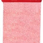 Tüll-Tischläufer m. Pailletten, rot, 30 cm breit, 5 m Rolle