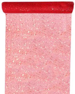 Tüll-Tischläufer m. Pailletten, rot, 30 cm breit, 5 m Rolle - tuell, tischlaeufer