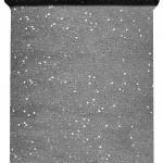 Tüll-Tischläufer m. Pailletten, schwarz, 30 cm breit, 5 m Rolle