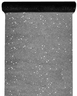 Tüll-Tischläufer m. Pailletten, schwarz, 30 cm breit, 5 m Rolle - tuell, tischlaeufer