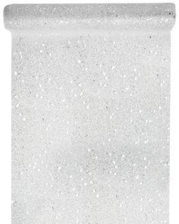 Tüll-Tischläufer m. Pailletten, silber, 30 cm breit, 5 m Rolle - tuell, tischlaeufer