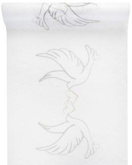 Vlies-Tischläufer Hochzeitstauben, weiß, 30 cm breit, 5 m Rolle - tischlaeufer, mit-druck-dekovlies, dekovlies