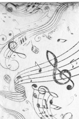 Vlies Tischlaufer Musik Noten weiss 70090_1